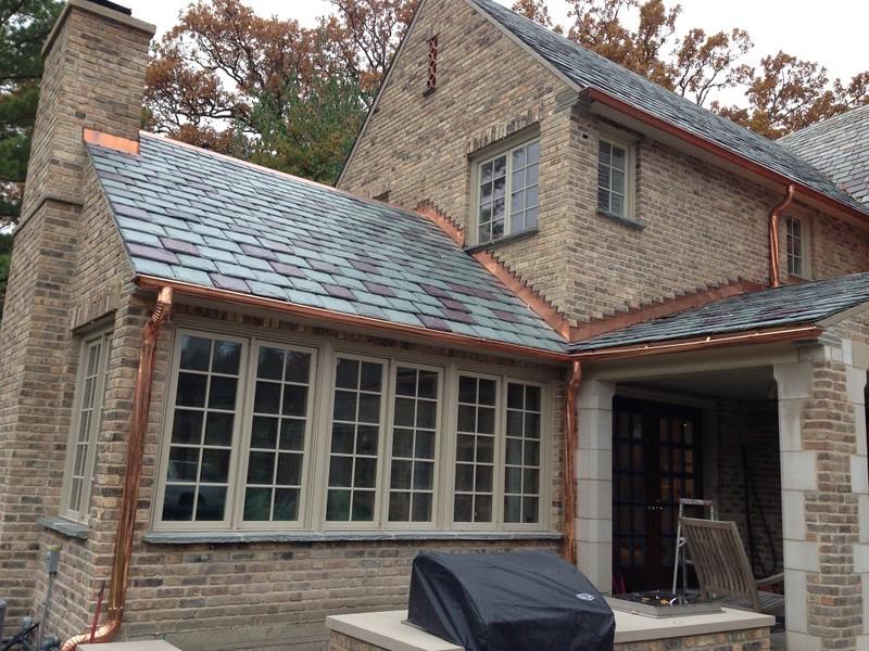 Slate Roofing Copper Gutters