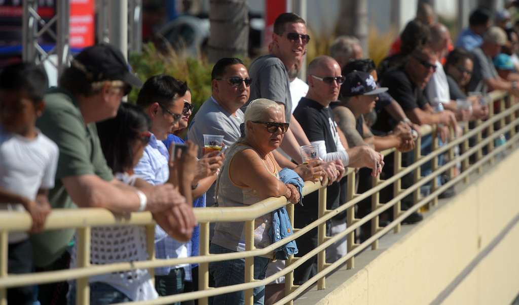 . Race fans watch Indy practice from the convention center in Long Beach, CA on Friday, April 17, 2015. The 40th annual Toyota Grand Prix of Long Beach kicked off with practices for all of the racing divisions. (Photo by Scott Varley, Daily Breeze)
