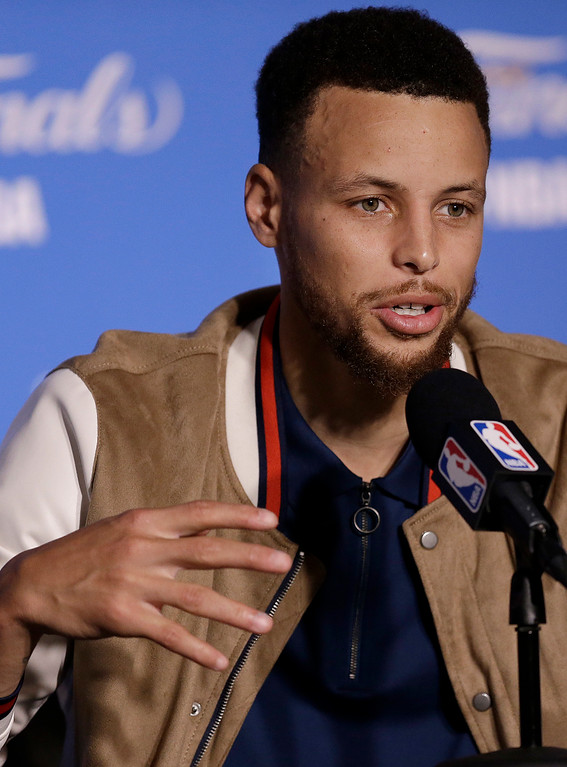 . Golden State Warriors guard Stephen Curry speaks at a news conference after Game 2 of basketball\'s NBA Finals against the Cleveland Cavaliers in Oakland, Calif., Sunday, June 4, 2017. (AP Photo/Ben Margot)
