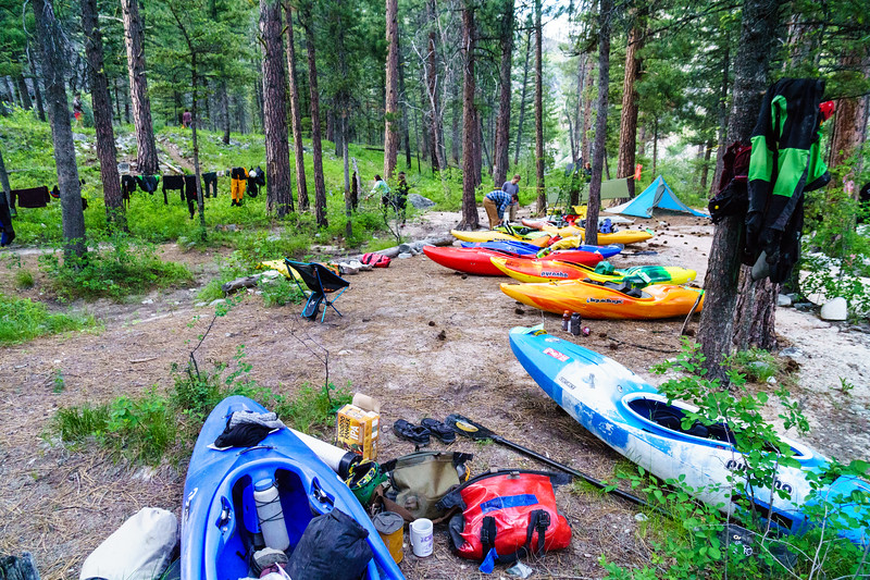 Lifestyling at camp on a summer self-support down the Middle Fork of the Salmon River in Idaho.