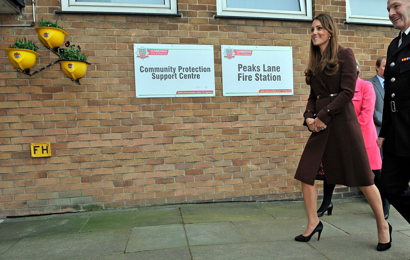 . Britain\'s Catherine, Duchess of Cambridge visits the Peaks Lane Humberside Fire and Rescue Station in Grimsby, northeast England, on March 5, 2013. The Duchess of Cambridge was on an official visit to Grimsby during which she visited the National Fishing Heritage Centre, the Peaks Lane Fire Station and the Havelock Academy.   BRUCE ADAMSBRUCE ADAMS/AFP/Getty Images