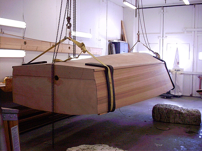 Epoxy has been sanded the boat is ready to go right side up.