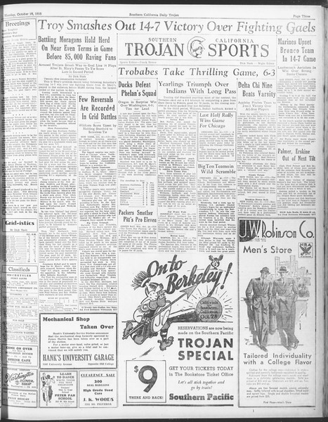 Daily Trojan, Vol. 25, No. 17, October 16, 1933
