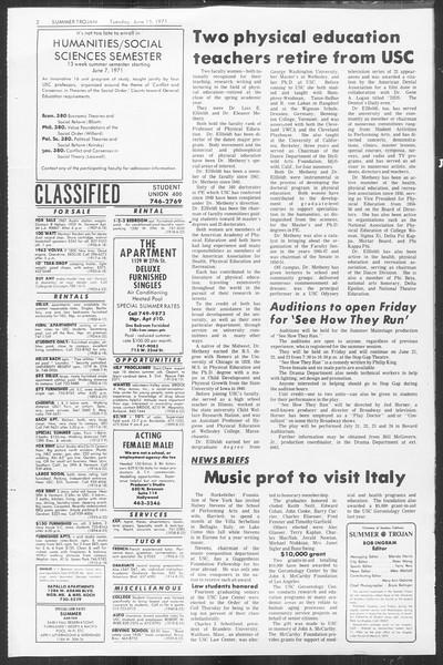 Summer Trojan, Vol. 63, No. 1, June 15, 1971