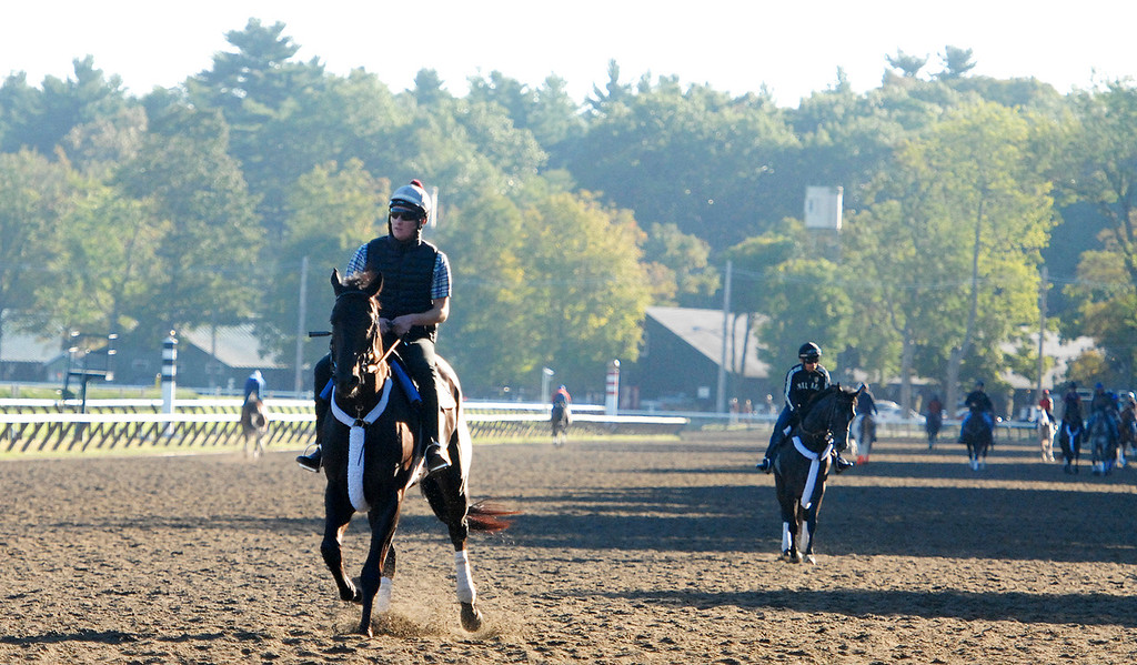 . Riders during early morning workouts on the Saratoga Race Course, hours before opening hours for the Travers Day on Saturday morning.Photo Erica Miller/The Saratogian 8/24/13 news_TheMadDash11