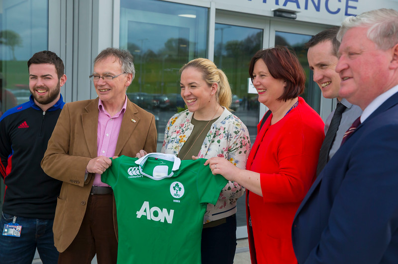 18/04/2017. Pictured at The WIT Arena at the augural WIT Arena Sporting Ambassador. Pictured are Alan Malone WIT Scholarship Co-ordinator, Prof. Willie Donnelly President of WIT,  Niamh Briggs WIT Arena Sporting Ambassador, Lynda Lawton Waterford Chamber, John Windle WIT Arena Manager and Mike Geoghan CEO Campus Services. Picture: Patrick Browne