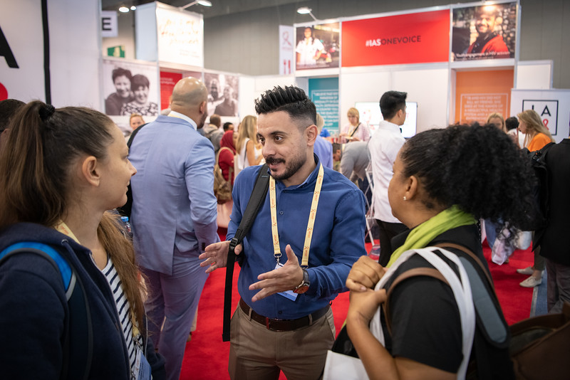 10th IAS Conference on HIV Science (IAS 2019), Mexico City, Mexico. Photo shows the Educational Fund Scholarship recipients welcome and reception at the IAS Exhibition Booth. Photo ©International AIDS Society/Steve Forrest/Workers' Photos
