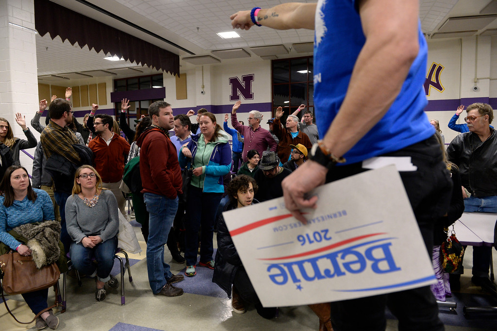 . DENVER, CO - MARCH 1: Derek Rowe takes a head count of Bernie Sanders supporters in Precinct 416. Denver Democrats gather at North High School to participate in the Colorado Democratic Precinct Caucuses. (Photo by Kathryn Scott Osler/The Denver Post)