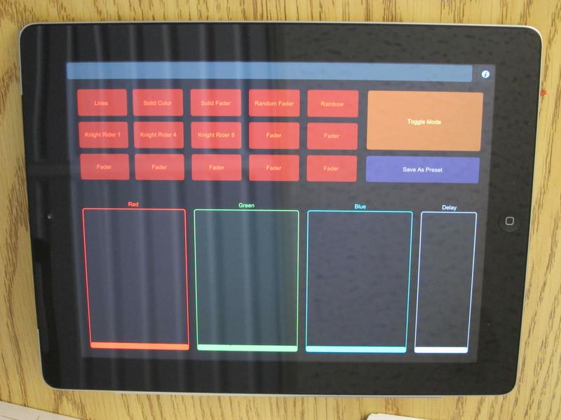 Control interface running on an iPad
