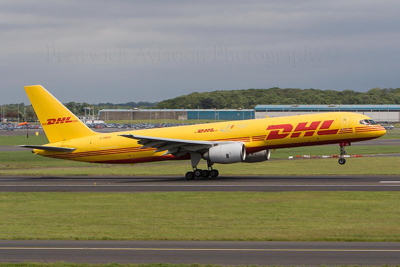 G-BMRD. Boeing 757-236(SF). DHL. Prestwick. 020607.  Crew training.