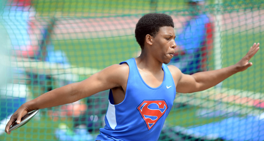 . Serra\'s Jeremy Franklin took second in the Division 4 discus of the CIF Southern Section Track and Field Championships Saturday at Mt. SAC. 20130518 Photo by Steve McCrank / Staff Photographer