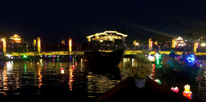 Thu Bon river during the Full Moon Lantern Festival - Hoi An