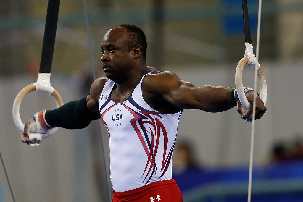 . Donnell Whittenburg of United States competes on the rings during the Men\'s All-Around Final in day three of the 45th Artistic Gymnastics World Championships at Guangxi Sports Center Stadium on October 9, 2014 in Nanning, China.  (Photo by Lintao Zhang/Getty Images)