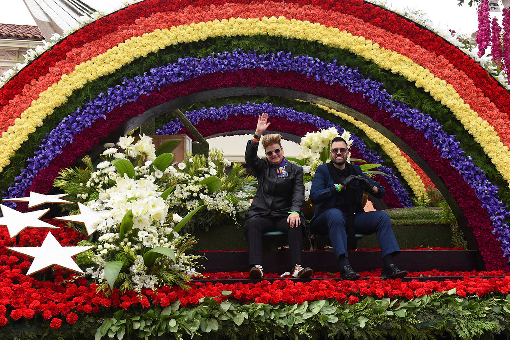 ". The AIDS Healthcare Foundation float ""To Honor And Remember Orlando,\"" winner of the Lathrop K. Leishman Trophy for most-beautiful noncommercial float, rolls along the 128th Rose Parade in Pasadena, Calif., Monday, Jan. 2, 2017. (AP Photo/Michael Owen Baker)"