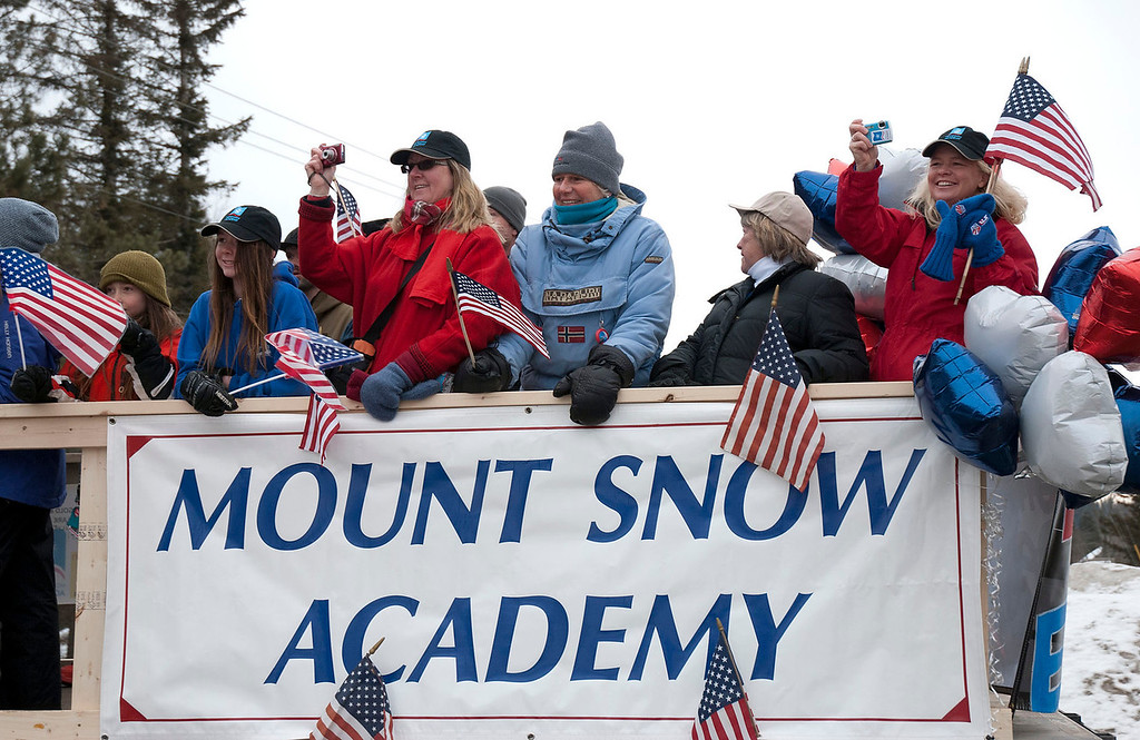 """. Kayla Rice/Reformer                                 Mount Snow Academy rides in the \""""Devin Day\"""" parade in Dover on Saturday."""