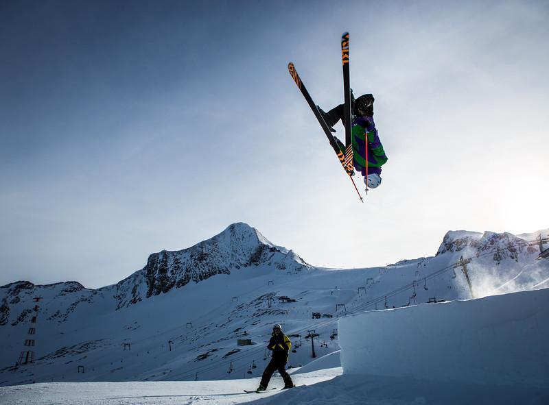 Backflip! Klaus pulls a huge backflip off the kicker in the fun park on the Kitzsteinhorn Glacier in Austria