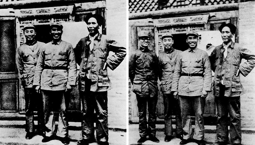 . 1936:  In this doctored photograph, Mao Tse-tung (first from the right) had Po Ku (first from the left) removed from the original photograph, after Po Ku fell out of favor with Mao.  SOURCE: http://www.cs.dartmouth.edu/farid/research/digitaltampering/