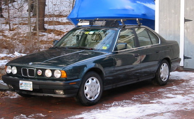 1992 BMW 525i.  The BMW 5 series is the finest road car made.