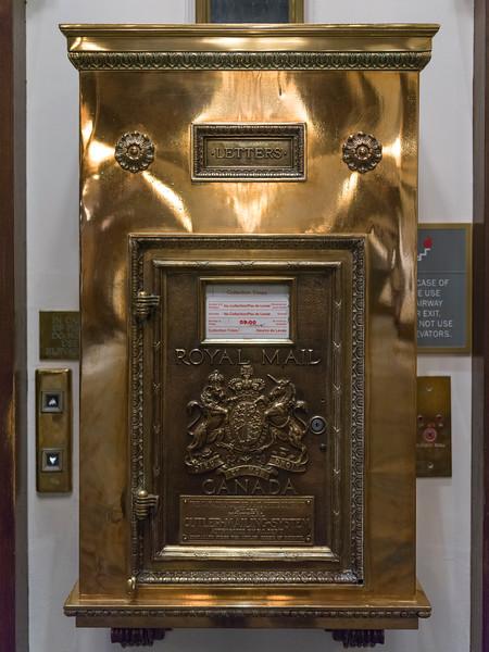 Close-up of mailbox in the Fairmont Empress Hotel, Victoria, British Columbia, Canada