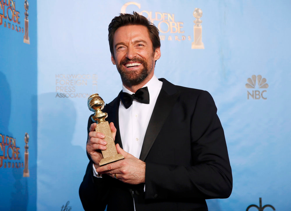 Description of . Best Actor in a Motion Picture - Comedy or Musical: Hugh Jackman, Les Miserables