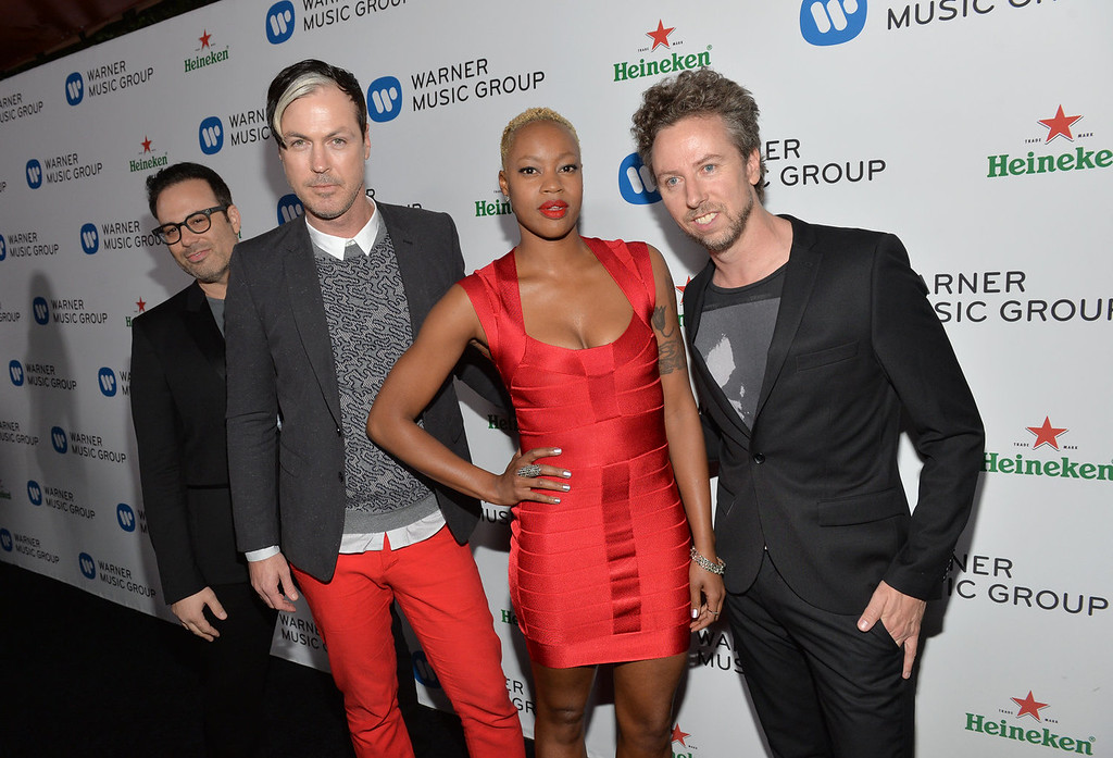 . (L-R) Jeremy Ruzumna, Michael Fitzpatrick, Noelle Scaggs, and Joseph Karnes of Fitz and the Tantrums attend the Warner Music Group annual GRAMMY celebration on January 26, 2014 in Los Angeles, California.  (Photo by Michael Buckner/Getty Images for Warner Bros.)