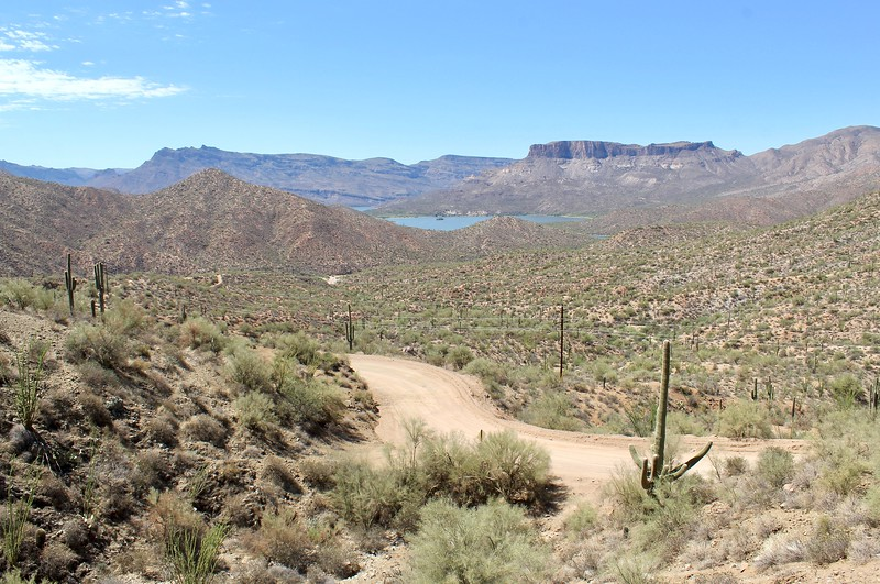 The Apache Trail with Apache Lake in the background (2018)