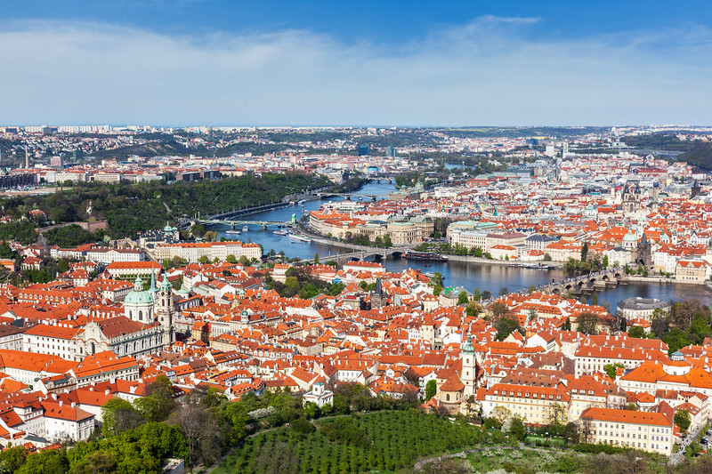 View of Charles Bridge over Vltava river and Old city from Petrin hill Observation Tower