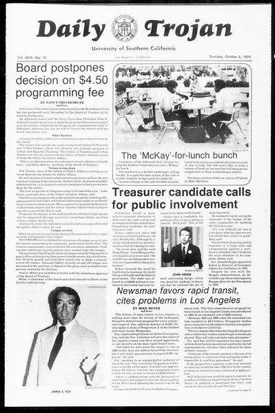 Daily Trojan, Vol. 67, No. 14, October 03, 1974
