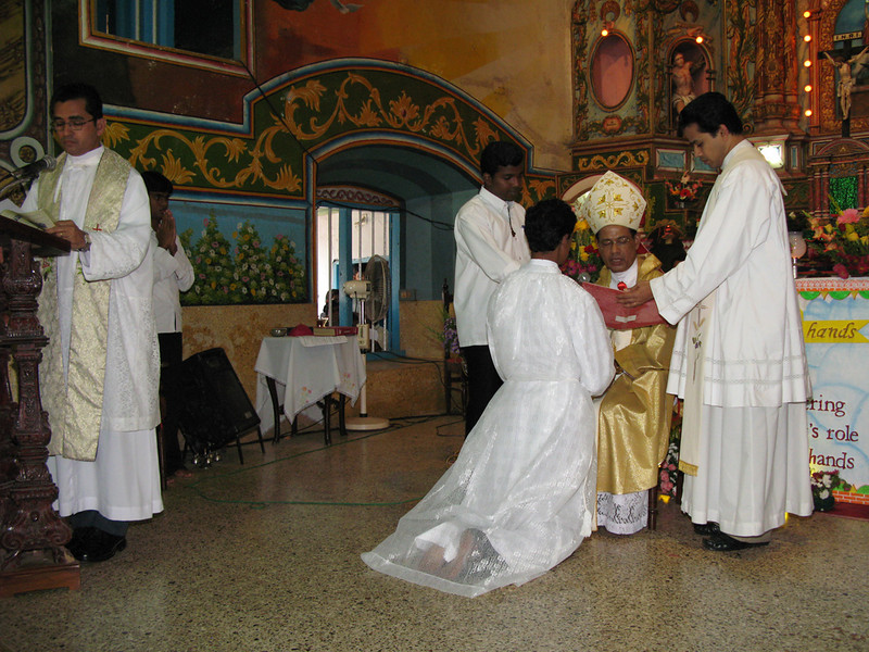 After the examination of the deacon candidate about their willingness to be ordained, and their commitment to celibacy, the bishop receives each on individually as they make their promise of obedience to the bishop.