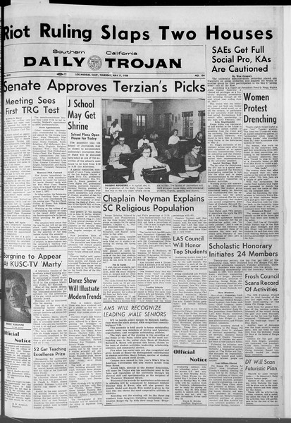 Daily Trojan, Vol. 47, No. 136, May 17, 1956