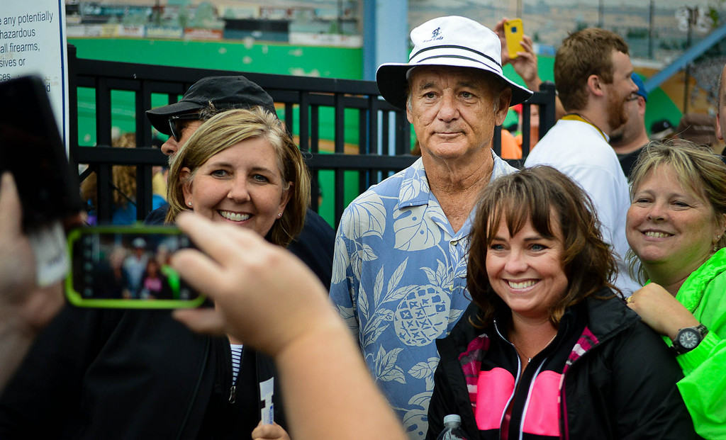 . Actor and team co-owner Bill Murray took tickets and posed for hundreds of photos before the game. (Pioneer Press: Ben Garvin)