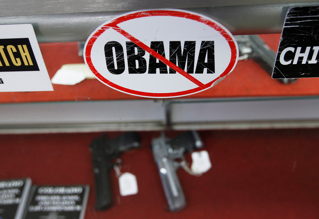 . A sticker is seen at the Rocky Mountain Guns and Ammo store in Parker, Colorado July 24, 2012.  REUTERS/Shannon Stapleton