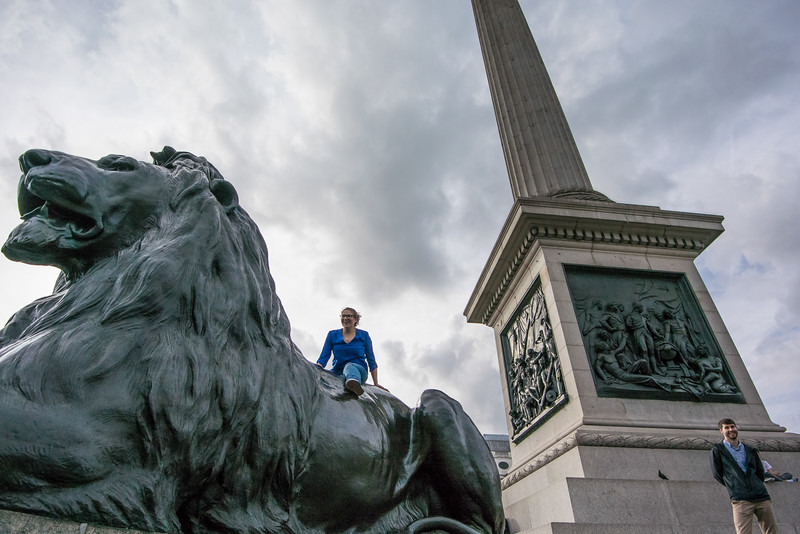 Olivia roaring in Trafalgar Square