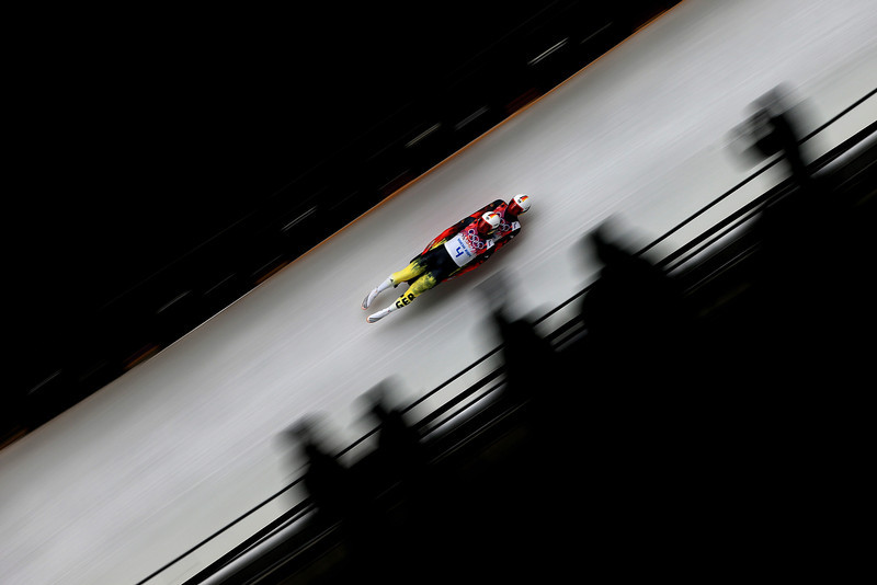 . Tobias Wendl and Tobias Arlt of Germany compete in the Men\'s Luge Doubles on Day 5 of the Sochi 2014 Winter Olympics at Sliding Center Sanki on February 12, 2014 in Sochi, Russia.  (Photo by Richard Heathcote/Getty Images)