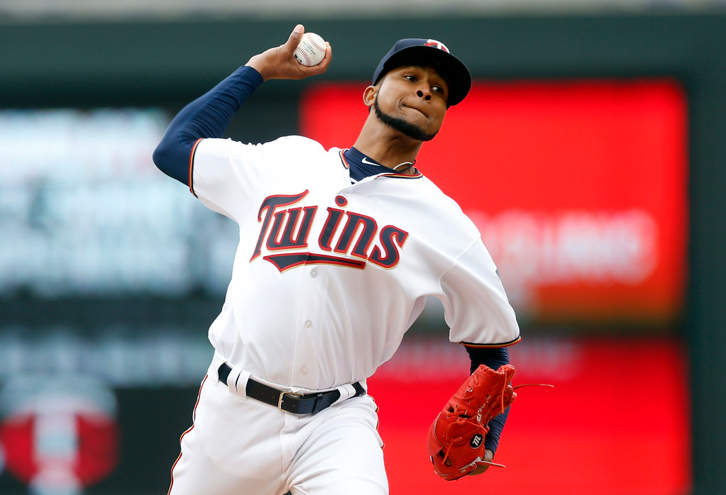. Minnesota Twins pitcher Ervin Santana throws against the Cleveland Indians in the first inning of a baseball game Thursday, April 20, 2017, in Minneapolis. (AP Photo/Jim Mone)