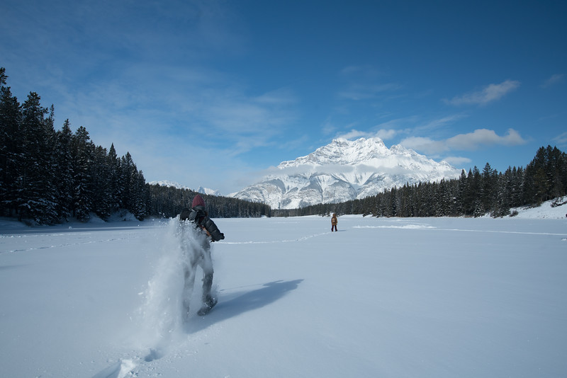 Running in Snowshoes at Johnson Lake