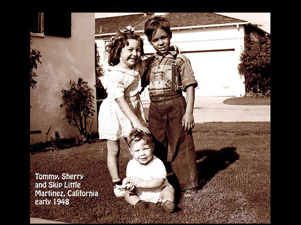 Tommy, Sherry and Skip Little, probably in Martinez, California in early 1948.