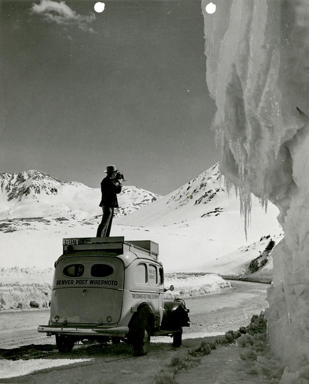 . Denver Post Photo van, Trail Ridge Road, Rocky Mountain National Park, Colorado. (Denver Post Library photo archive)