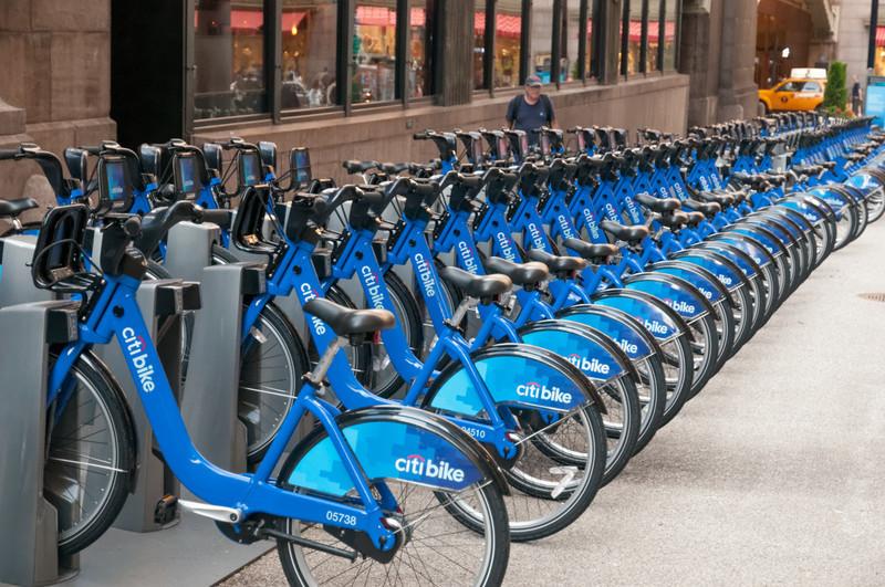 Fahrräder gibt es in New York erstaunlich viele.