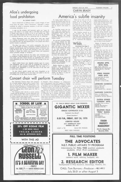 Summer Trojan, Vol. 62, No. 10, July 24, 1970