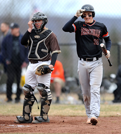 4/11/2019 Mike Orazzi | Staff Terryville's Colin Bamrick (11) during Thursday's baseball game with Thomason at Terryville High School.