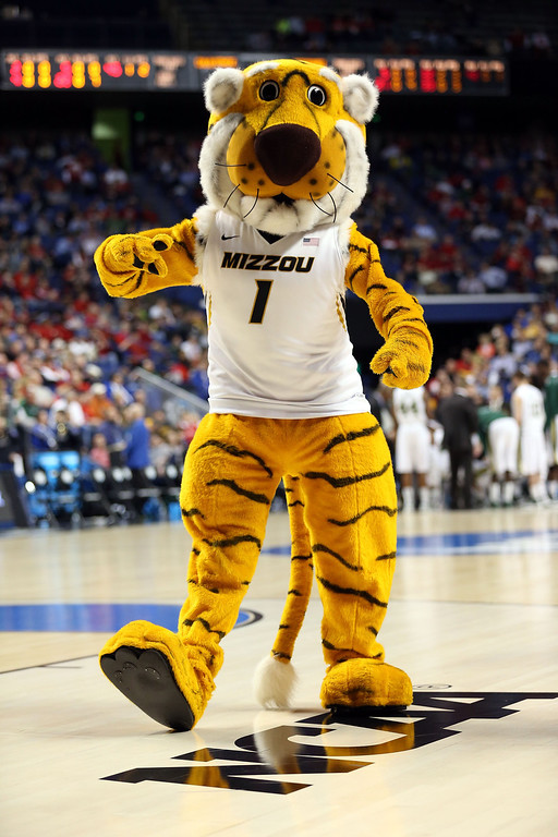 . LEXINGTON, KY - MARCH 21:  The Missouri Tigers mascot performs during the second round of the 2013 NCAA Men\'s Basketball Tournament at the Rupp Arena on March 21, 2013 in Lexington, Kentucky.  (Photo by Andy Lyons/Getty Images)
