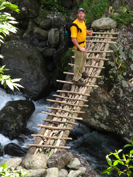 Carefully crossing a bridge