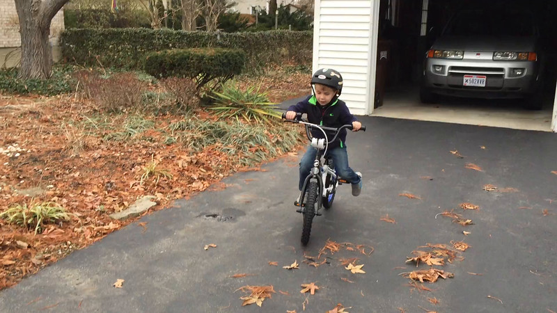 Testing out his new bike.