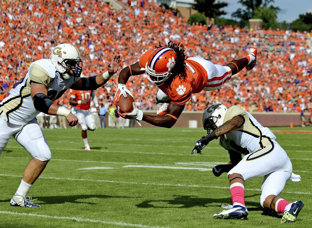 . <p><b>3. Jacksonville: Sammy Watkins, WR, Clemson. </b> <p>With Justin Blackmon possibly suspended for all of 2014, the Jaguars snag another receiver. Now if they only had somebody to get him the ball.  (AP Photo/Richard Shiro, File)