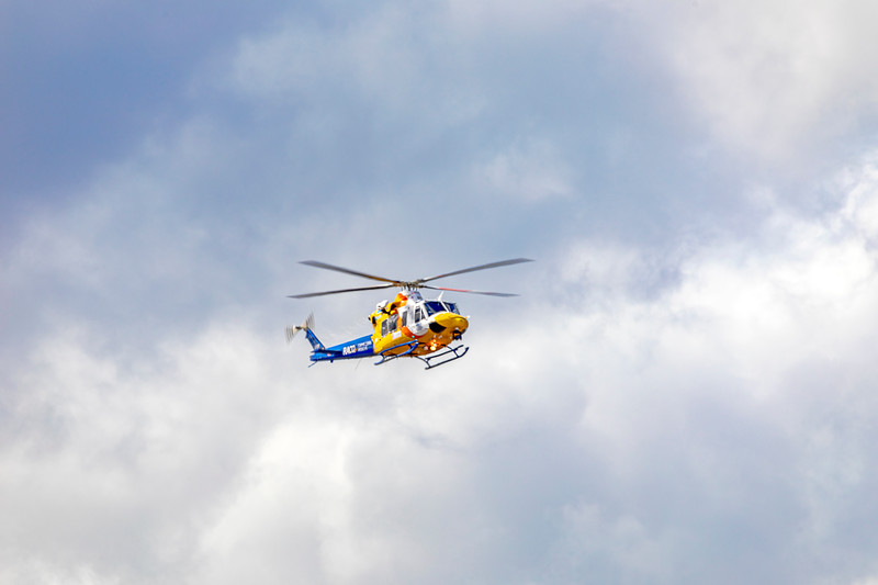 RACQ Capricorn Rescue Helicopter VH-EPR returning to Rockhampton Airport after departing the Rockhampton Base Hospital.