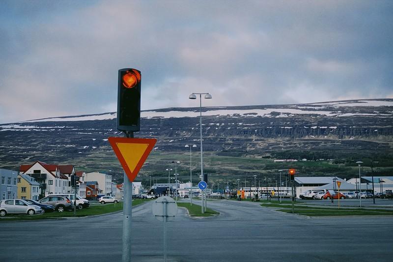 Driving through Akureyri Iceland