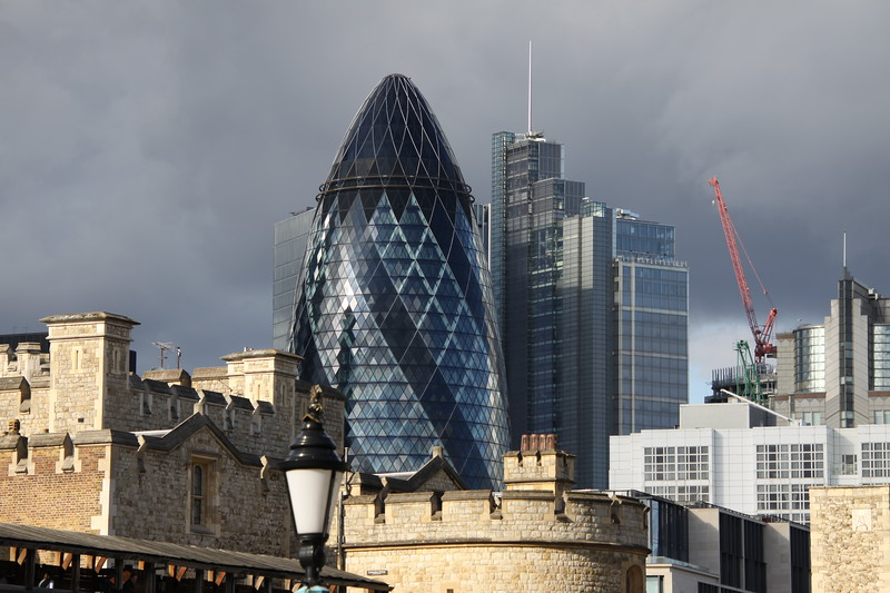 Modern buildings behind the Tower of London