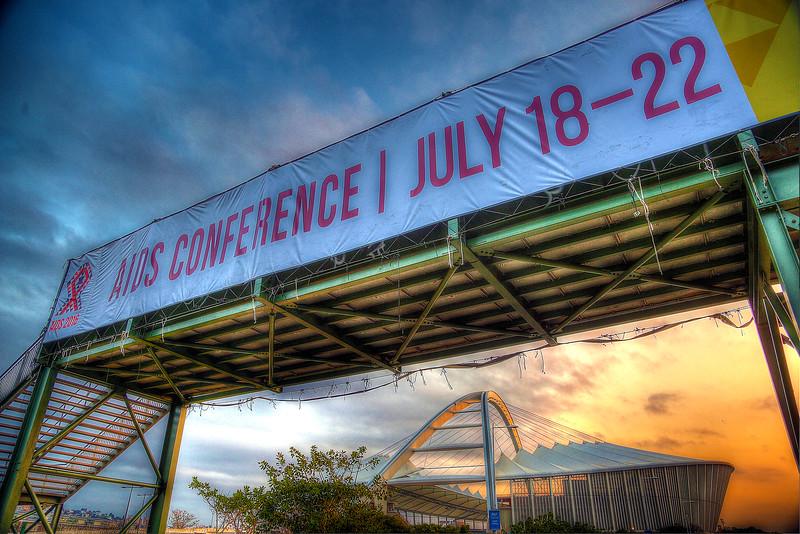 21st International AIDS Conference (AIDS 2016), Durban, South Africa. Sunrise Branding Images against Moses Mabhida Stadium Photo©International AIDS Society/Abhi Indrarajan