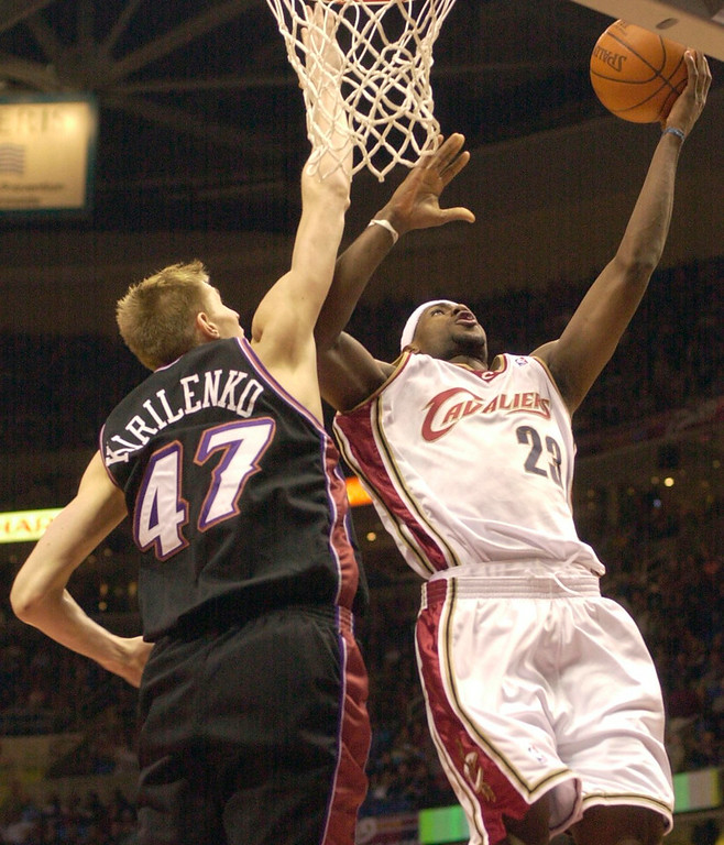 . Michael Blair/News-Herald The Cavs\' LeBron James misses a layup as Utah\'s Andrei Kirilenko defends during the first half of Friday night\'s game at Gund Arena.